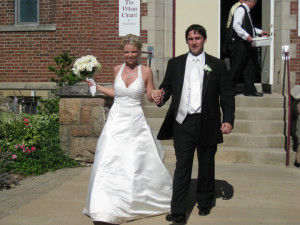 Photo of Jason and Jeanette Kane following their wedding ceremony.