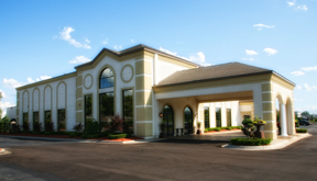 External view of Crystal Gardens Banquet Center in Howell, Michigan