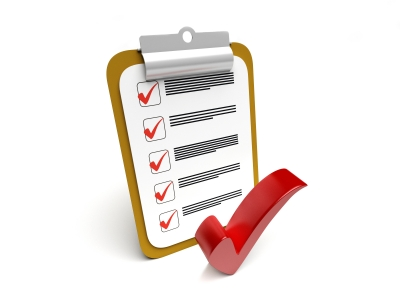 Color graphic of a checklist on a clipboard with a red checkmark in front of it.