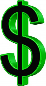 Graphic of a black and green dollar sign in 3D