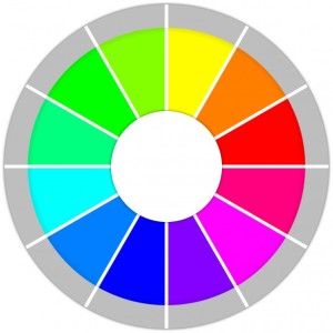 Graphic of a color wheel with white at the center and gray around the outside.