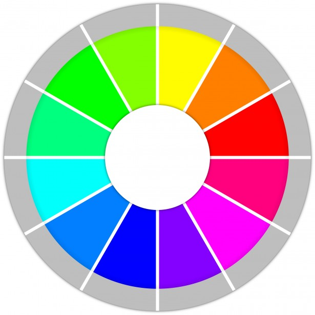 Graphic Of A Color Wheel With White At The Center And Gray Around Outside